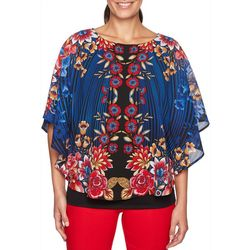Ruby Road Favorites Womens Floral Striped Poncho Top
