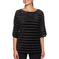 Ruby Road Favorites Womens Metallic Striped Velvet Top