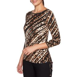 Ruby Road Favorites Womens Embellished Diagonal Safari Top