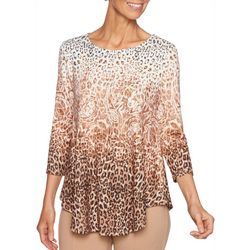Ruby Road Favorites Womens Embellished Mixed Animal Top