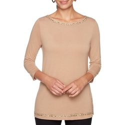 Ruby Road Favorites Womens Embellished Trim Top