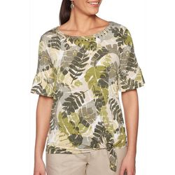 Ruby Road Favorites Womens Tropical Palm Print Side Tie Top