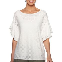 Ruby Road Favorites Womens Soild Eyelet Embroidered Top