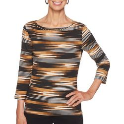 Ruby Road Favorites Womens Embellished Striped Top