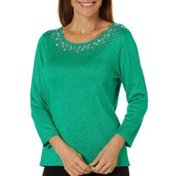 Ruby Road Favorites Womens Metallic Embellished Sweater