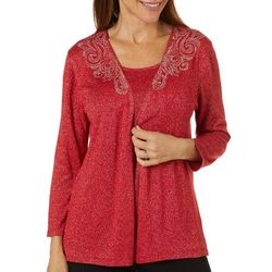 Ruby Road Favorites Womens Solid Embellished Duet Top