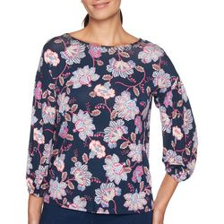 Ruby Road Favorites Womens Floral Jewel Embellished Top