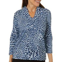 Ruby Road Favorites Womens Leopard Print Funnel Neck Top
