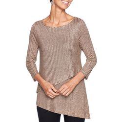 Ruby Road Favorites Womens Solid Jeweled Faux Layer Top