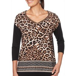 Ruby Road Favorites Womens Mixed Animal Print V-Neck Top