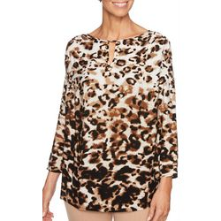 Ruby Road Favorites Womens Animal Print Keyhole Top
