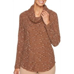 Ruby Road Favorites Womens Heathered Stripe Cowl Neck Top
