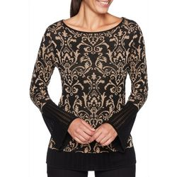 Ruby Road Favorites Womens Damask Print Bell Sleeve Top