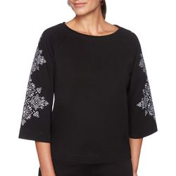 Ruby Road Favorites Womens Embroidered Sleeve Top