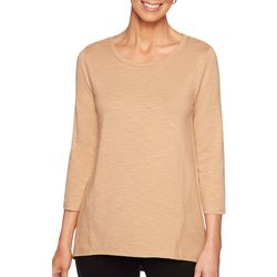Ruby Road Favorites Womens Solid Long Sleeve Top
