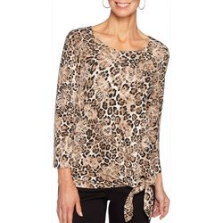 Ruby Road Favorites Womens Mixed Animal Print Side Tie Top