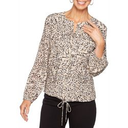 Ruby Road Favorites Womens Mixed Animal Print Zip Up Top