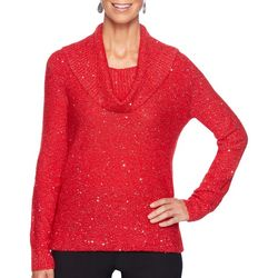 Ruby Road Favorites Womens Solid Shimmer Cowl Neck Top