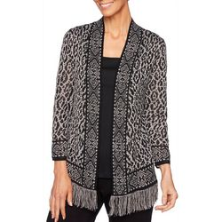 Ruby Road Favorites Womens Print Open Front Cardigan