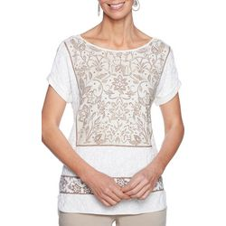 Ruby Road Favorites Womens Embroidered Floral Print Top