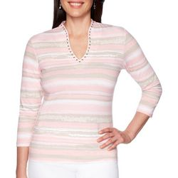 Ruby Road Favorites Womens Jeweled Stripe Funnel Neck Top
