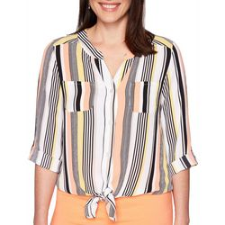 Ruby Road Favorites Womens Stripe Tie Front Button Down Top