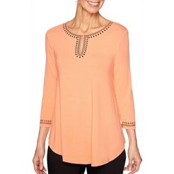 Ruby Road Favorites Womens Jeweled Trim Keyhole Top