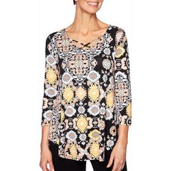 Ruby Road Favorites Womens Mixed Print Cross Neck Top