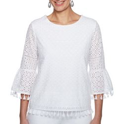 Ruby Road Favorites Womens Lace Tassle Trim Bell Sleeve Top