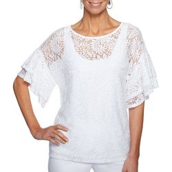 Ruby Road Favorites Womens Capo Bianco Paisley Lace Top