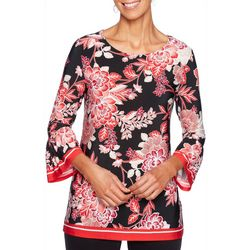 Ruby Road Favorites Womens Floral Print Bell Sleeve Top