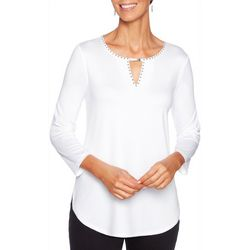 Ruby Road Favorites Womens Embellished Keyhole Neck Top