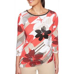 Ruby Road Favorites Womens Floral Striped Side Ruched Top