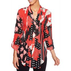 Ruby Road Favorites Womens Mixed Floral Pleated Top