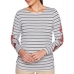 Ruby Road Favorites Womens Striped Floral Top