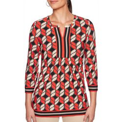 Ruby Road Favorites Womens Abstract Print Tunic Top