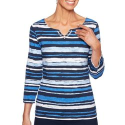 Ruby Road Favorites Womens Striped Jewel Neck Top