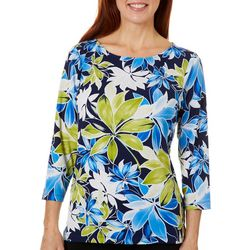 Ruby Road Favorites Womens Floral Puff Print Top