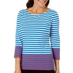Ruby Road Favorites Womens Stripe Print Boat Neck