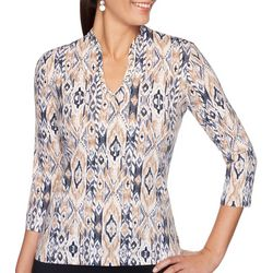 Ruby Road Favorites Womens Ikat Embellished Neck Top