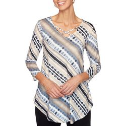 Ruby Road Favorites Womens Tie Dye Stripe Crisscross Top