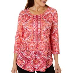 Ruby Road Favorites Womens Embellished Ikat Round Neck Top