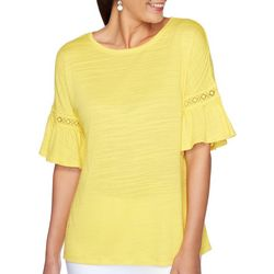 Ruby Road Womens Resort Bright Flounce Sleeve Top