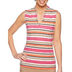 Ruby Road Favorites Womens Striped V-Neck Sleeveless Top