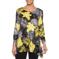 Ruby Road Favorites Womens Tropical Floral Sharkbite Hem Top