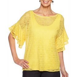 Ruby Road Favorites Womens Diamond Lace Layered Top