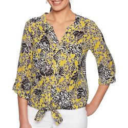 Ruby Road Favorites Womens Floral Tie Front Top