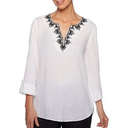 Ruby Road Favorites Womens Embroidered Gauze Tunic Top