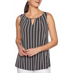 Ruby Road Favorites Womens Striped Keyhole Sleeveless Top