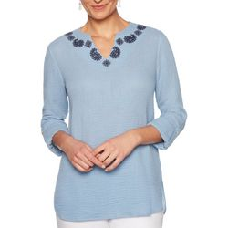 Ruby Road Favorites Womens Paisley Embroidered Tunic Top
